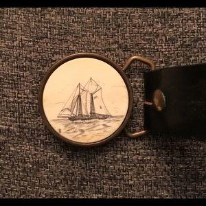 Vintage Black Leather Belt with Scrimshaw Buckle